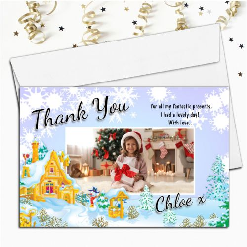 10 Personalised Christmas Xmas Thank you PHOTO Cards N40